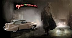 Guidos Ristorante, West Los Angeles. California, route 66 with a 1939 Lincoln and a Gangster man...another one of my digital artworks, I pieced together.