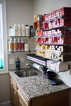 Newport, RI Hair and Makeup Salon Home Beauty Salon, Home Hair Salons, Hair Salon Interior, Beauty Salon Decor, Home Salon, Design Salon, Beauty Salon Design, Salon Interior Design, Small Salon Designs