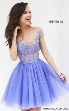 A Line Sherri Hill 11171 Periwinkle Short Cocktail Dress