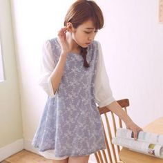 Elbow-Sleeve Floral A-Line Top from #YesStyle <3 Tokyo Fashion YesStyle.com