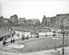 """Circa 1905. """"Mulberry Bend, New York City."""" The name was changed to Columbus Park in 1911. 8x10 glass negative, Detroit Publishing Co. View full size."""