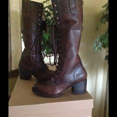 Freebird by Steven Grany Freebird by Steven Grany Cognac Leather Combat Lace-up Boots.  Zip Back.  Brand New w/box.  No Trades, firm price. Steve Madden Shoes Lace Up Boots