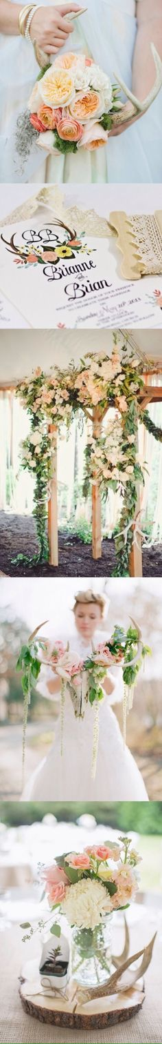 Hate the colors, but love the antlers & B+B Camo Wedding, Dream Wedding, Pink Fall Weddings, Flower Decorations, Wedding Decorations, Wedding Inspiration, Wedding Ideas, Wedding Stuff, Event Styling
