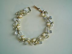 Ladies Vintage Wedding Faux Pearl and White Rhinestone Bracelet by FoxJewelryBoutique on Etsy