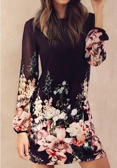 Black Floral Grenadine Long Sleeve Fashion Polyester Mini Dress