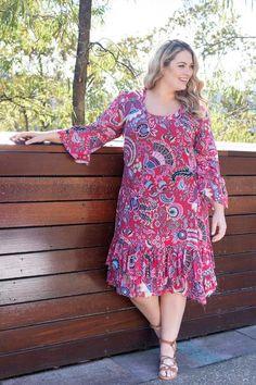 Floral Dress     Botanical Dress in Oriental Pink (Plus Size)
