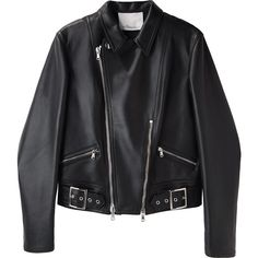 3.1 Phillip Lim Motorcycle Jacket (1,035 CAD) ❤ liked on Polyvore featuring outerwear, jackets, tops, coats & jackets, leather biker jacket, black moto jacket, leather motorcycle jacket, leather jacket and black leather jacket