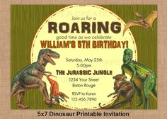 Dinosaur Printable Birthday Invitation by PaperCreationsByJen, $12.00