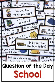 Back to School: Question of the Day {Graphing Questions} Back to school questions of the day for preschool, kindergarten, and first grade. Use for attendance, morning meeting, graphing and more. Great ideas for classroom routines for beginning readers. Me Preschool Theme, Preschool First Day, All About Me Preschool, Preschool Lesson Plans, Kindergarten Classroom, Preschool Attendance Ideas, Classroom Attendance, Dinosaur Classroom, Kindergarten Graduation
