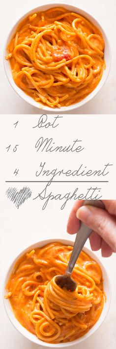 One Pot Spaghetti with Cream Cheese - 4 ingredients, one pot - no strainer needed - and it's ready in 15 minutes.