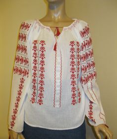 Stunning hand made Romanian peasant blouse, hand embroidered with red cotton thread. Beautiful detailed with hand embroidered lace handmade in white White Tunic, White Silk, Indiana Jones, Peasant Blouse, Red Blouses, Embroidered Lace, Vintage Tops, Marion Ravenwood, Cotton Thread