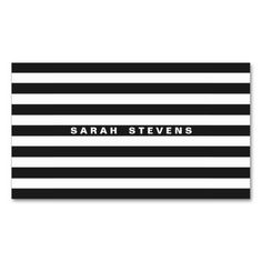 Chic Black and White Striped Modern Salon & Spa Business Card Template