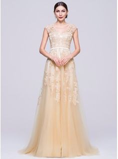 0d639f012da1 A-Line Princess V-neck Sweep Train Tulle Evening Dress With Appliques Lace