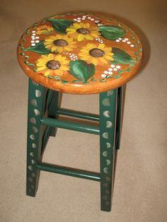 Sunflower stools by dkmdesigns on Etsy