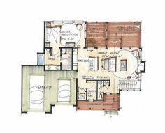 3 bed 3 1/2 bath floor plan that has green roof built in.  Bee Branch Camp Main Floor - Natural Element Homes