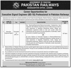 Pakistan Railways Headquarter Jobs for Executive Engineer
