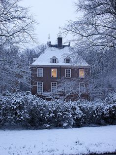 elegant home in winter.