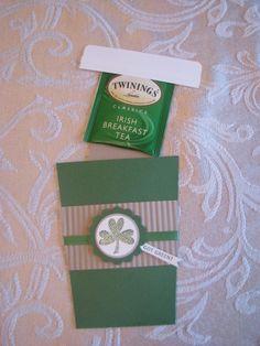 Mail Irish tea for St Patrick's Day. Irish Tea, St Patricks Day Cards, St Patrick Day Treats, Coffee Cards, Irish Blessing, St Paddys Day, Paper Cards, Craft Fairs, Homemade Cards
