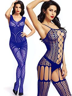 1694da1560 Amoretu Womens Sexy Lingerie Crotchless Fishnet Bodystocking Tights  Sapphire    Want additional info  Click
