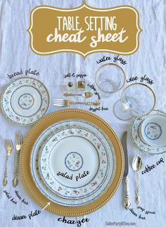 Use this handy Table Setting Cheat Sheet to remind you where everything goes on the table! : Use this handy Table Setting Cheat Sheet to remind you where everything goes on the table! Hosting Thanksgiving, Thanksgiving Table, Christmas Tables, Holiday Tables, Fall Table, Thanksgiving Centerpieces, Decoration Evenementielle, Table Decorations, Dining Etiquette