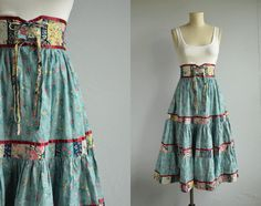 Vintage Gunne Sax Skirt / 1970s Tiered Ruffled by zestvintage Women's fall festival fashion clothing outfit hippie boho