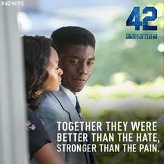 """Movie Poster from """"42"""" starring Chadwick Boseman and Nicole Beharie"""