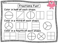 Fractions worksheets to practice halves thirds and fourths