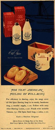 Shulton's Old Spice Shaving kit – For That American Feeling Of Well-Being My daddy loved this stuff and so did his dad. Vintage Advertisements, Vintage Ads, Vintage Posters, Vintage Makeup, Shaving Lotion, Shaving Soap, Tv Adverts, Shaving & Grooming, Old Spice