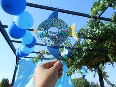 Peces con CDs reciclados decorados con goma eva y lentejuelas. Cumpleaños submarino. Submarine Birthday Party - Inma Torrijos