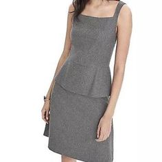 56a4dc91a18 Banana Republic Grey Peplum Regular Dress - 48% Off Retail Elegant Dresses