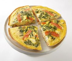Smoked Salmon and Cream Cheese Frittata : Salmon and cream cheese, classic bagel toppers, work just as well in an egg dish as they do on a breakfast sandwich. Serve this savory frittata with crispy hash browns.