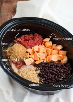 Chicken, quinoa, sweet potato soup. This recipe is great to sub whatever you have in the pantry. White for black beans, squash for sweet potatoes...ect.
