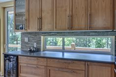 Kitchen counters, with window behind