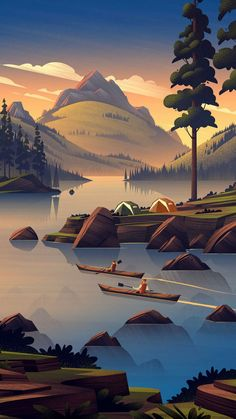 Nature Camping Art Mountains iPhone Wallpaper