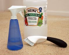 Carpet stain lifter. Mix one cup each of vinegar and water in a spray bottle. Spray the stain until wet. Use a brush to scrub the mixture into the stain. Wait 5-10 minutes. Gently wipe and blot up the stain with a water and soap-moistened cloth. Repeat if necessary.    Here are a few more carpet stain treatment ideas:    For fresh grease spots, sprinkle corn starch onto spot and wait 15 - 30 minutes before vacuuming.  For a heavy duty carpet cleaner, mix 1/4 cup each of salt, borax and vineg