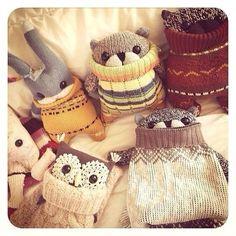 Милые игрушки из носков и трикотажных вещей