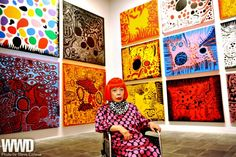 "Yayoi Kusama opens this Thursday! womensweardaily: "" Q&A: Yayoi Kusama, Pop Artist Eyeing one of the galleries stacked with her psychedelic paintings at Manhattan's Whitney Museum of Art Monday. Yayoi Kusama, Psychedelic Colors, Pop Art Movement, Whitney Museum, New York Art, Feminist Art, Arts Ed, Japanese Artists, Abstract Expressionism"