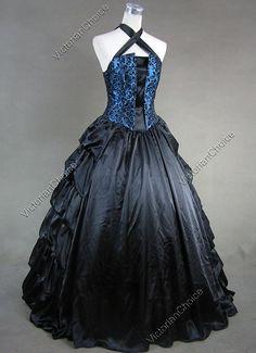 Victorian Gothic Brocade Period Dress Tier Ruffles Gown Theatre Quality Wear 113 | eBay