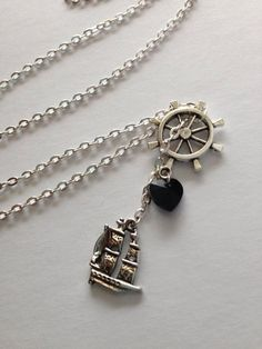 Captain Hook Necklace - OUAT Inspired, Once Upon a Time - Killian Jones Pirate Ship Black Heart Ship Wheel - Disney Jewelry, Geek Gift by BombDotComGeekery on Etsy