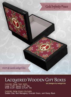 Purple Satin Golden Peace Emblem Wooden Gift Box by webgrrl