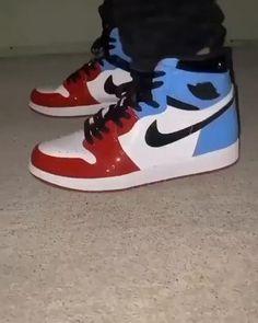 JORDAN 1 RED X BLUE by waldocustom Jordan Shoes Girls, Girls Shoes, Retro Jordan Shoes, Air Jordan Retro, Nike Air Shoes, Sneakers Nike, Jordan Sneakers, Jordan 1 Red, Jordan Ones