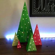 My wife and I made these fun Christmas trees. I cut them at 15degrees, and my wife painted them. #christmasdecor #christmastree #christmasdiy