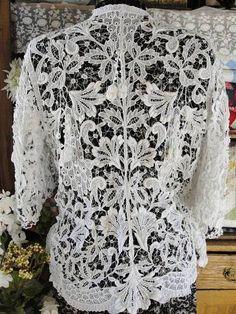 Sensational Cutwork Lace Antique c1900 Bridal Jacket | eBay