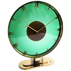 1930s Art Deco Glass and Brass Clock by Heinrich Moller
