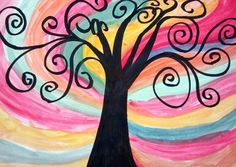 """Students viewed Gustav Klimt's """"Tree of Life"""" for inspiration for these beautiful paintings."""