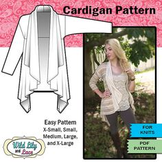 CARDIGAN SEWING PATTERN - #202 Cascading soft cardigan for knit fabrics on Etsy, Sold