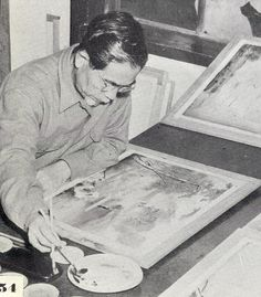 Shinzan Yamada at work, taken by Blackie the Photographer which was published in his (Blackie's) book, 'This is Okinawa, ca 1954.'  Related:  One of Yamada's books,  'Okinawa, Her Beauties and Traditions, No 1,' Painted by Shinzan Yamada