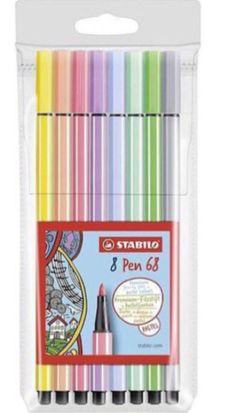 Estojo Stabilo Pen 68 Pastel com 8 canetas