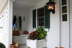 outdoor mud room, on the front porch