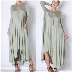Fabulous Maxi Dress Cape Sage 3 sizes This is a gorgeous sage green maxi dress with long sleeves and uneven hemline . Oversized style and purposefully so. Sizes S M L . Vivacouture Dresses